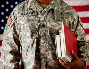 Military Servicemember with school books